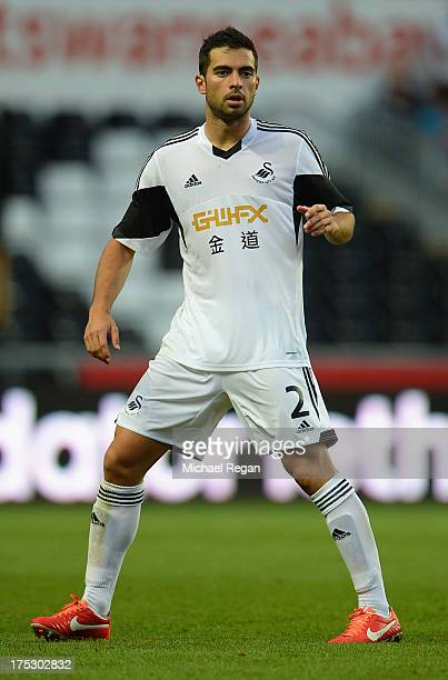 Jordi Amat of Swansea looks on during the UEFA Europa League third round qualifying first leg match between Swansea City and Malmo at the Liberty...