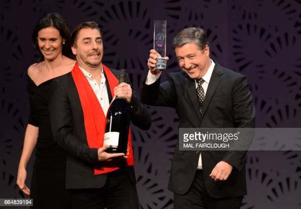 Jordi and Joan Roca of El Celler de Can Roca in Spain win the Ferrari Trento Art of Hospitality Award at the World's 50 Best Restaurants awards in...