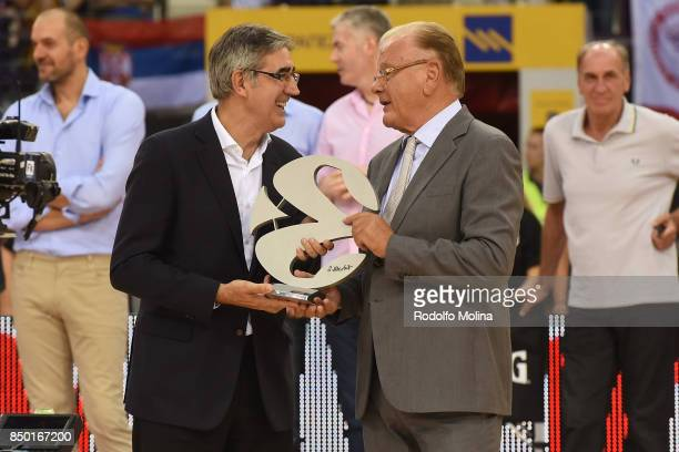 Jordi Bertomeu CEO Euroleague Basketball gives to Dusan Ivkovic the Legend Trophy during the celebration of Dusan Ivkovic Honored As Euroleague...