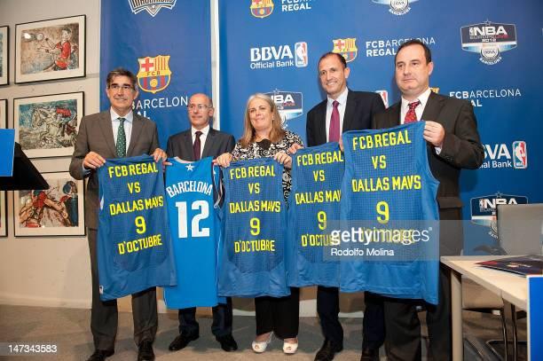 Jordi Bertomeu, CEO Euroleague Basketball, Joan Blade, executive of FC Barcelona, Maite Fandos, Minister of Sports from Municipality of Barcelona,...