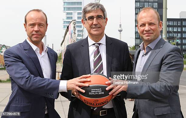 Jordi Bertomeu CEO Euroleague Basketball Marco Baldi Geschäftsführer Alba Berlin and Michael Hapka General Manager AEG Operations GmbH after the...