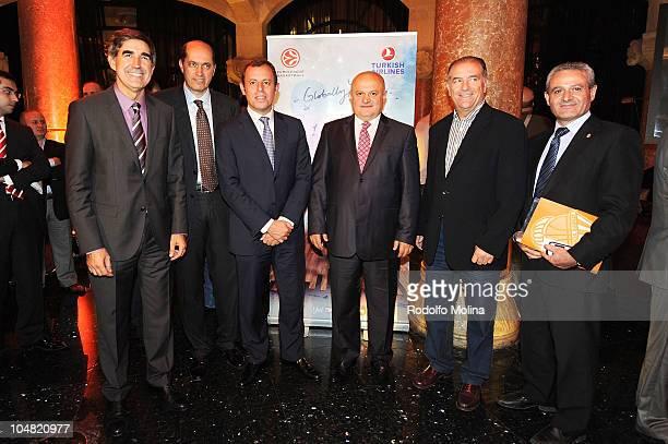 Jordi Bertomeu CEO Euroleague Basketball representative of Basketball Turkish Federation Sandro Rosell FC Barcelona President Hamdy Topcu Chairman of...