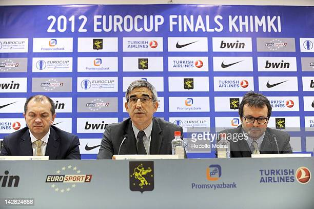 Jordi Bertomeu CEO Euroleague Basketball speaks during the 2012 Eurocup Finals Opening Press Conference at Khimki Arena Press Conference Room on...