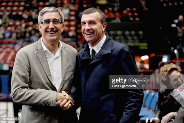 Jordi Bertomeu CEO of EuroLeague Basketball and Livio Proli President of AX Armani Exchange Olimpia Milan before 2017/2018 Turkish Airlines...