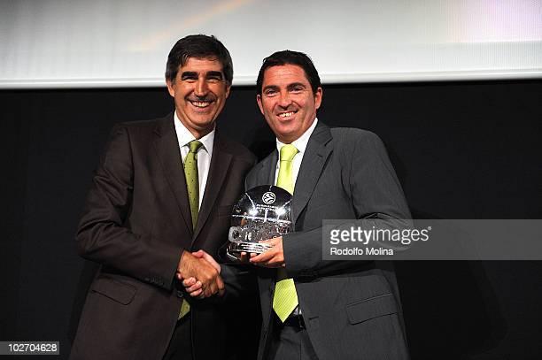 Jordi Bertomeu, CEO of Euroleague Basketball hands Best Coach Trophy to Xavi Pascual, Head Coach of Regal FC Barcelona during the Euroleague...
