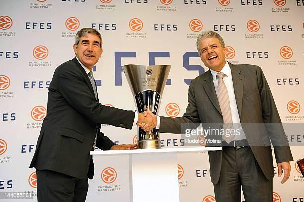 Jordi Bertomeu, CEO of Euroleague Bsketball and Alejandro Jimenez, Anadolu Efes Beer Group President handshake during the Efes Pilsen and Euroleague...