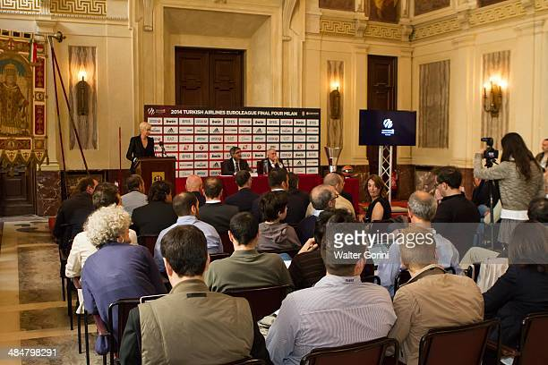 Jordi Bertomeu during the Turkish Airlines Euroleague Final Four Presentation Press Conference at Palazzo Marino on April 14 2014 in Milan Italy