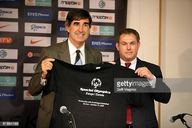 Jordi Bertomeu Kai Troll during the Euroleague Basketball Opening Game Press Conference at Nokia Arena on October 14 2009 in Tel Aviv Israel
