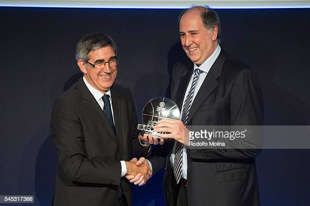 Jordi Bertomeu President and CEO Euroleague Basketball gives to Josen Querejeta President of Laboral Kutxa Vitoria Gasteiz the Best Executive Trophy...