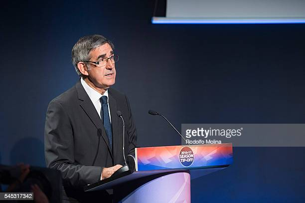Jordi Bertomeu President and CEO of Euroleague Basketball speech during the Eurocup Basketball 20162017 Season Draw at Imagina Centre Audiovisual on...