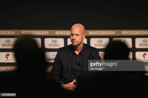 Jordi Cruyff Maccabi Tel Aviv FC Head Coach looks on during day 1 of the Soccerex Global Convention at Manchester Central Convention Complex on...