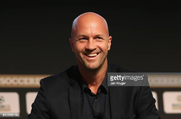 Jordi Cruyff Maccabi Tel Aviv FC Head Coach smiles during day 1 of the Soccerex Global Convention at Manchester Central Convention Complex on...