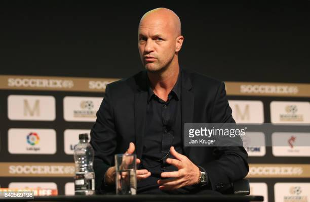 Jordi Cruyff Maccabi Tel Aviv FC Head Coach talks during day 1 of the Soccerex Global Convention at Manchester Central Convention Complex on...