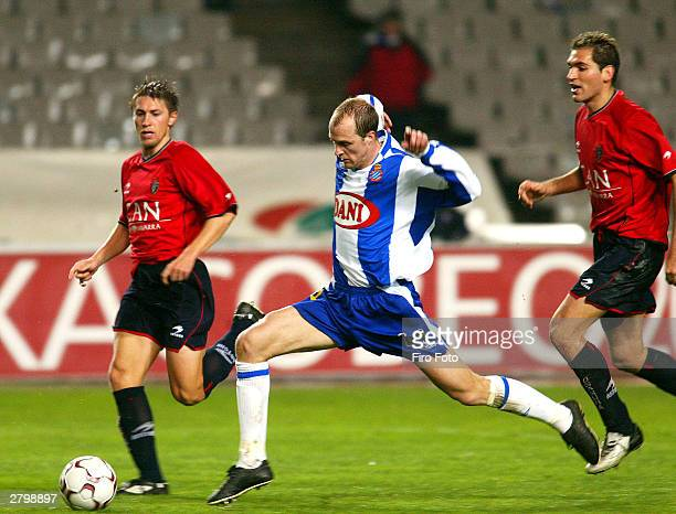 Jordi Cruyff of Espanyol in action during the Spanish Primera Liga match between RCD Espanyol and Osasuna at the Estadio Ol�mpico de Montjuic on...
