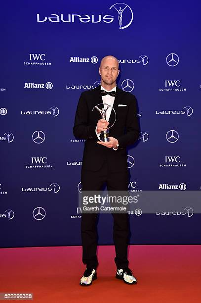 Jordi Cruyff poses with the Laureus Spirit of Sport Award trophy for Johan Cruyff collected on behalf of his father during the Winners Photocall at...