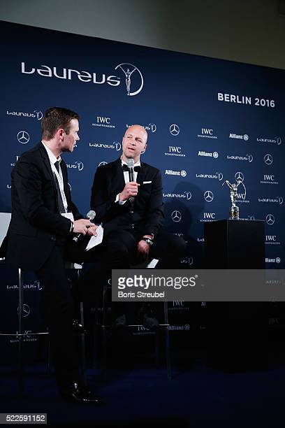 Jordi Cruyff speaks to the press with the Laureus Spirit of Sport Award trophy for Johan Cruyff collected on behalf of his father during the Winners...