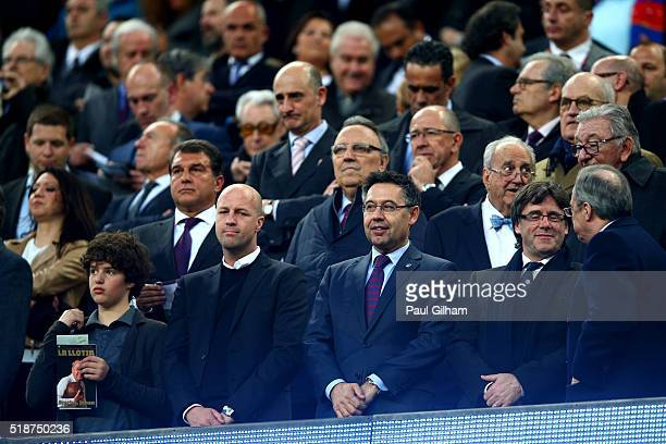 Jordi Cruyff the son of former FC Barcelona player and manager Johan Cruyff looks on next to former club presidents as tributes are paid to his late...