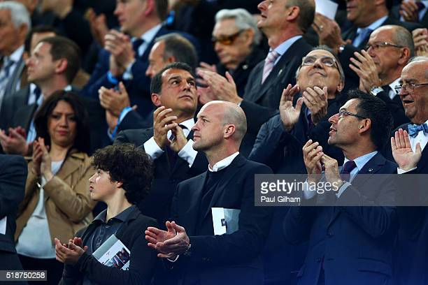 Jordi Cruyff the son of former FC Barcelona player and manager Johan Cruyff applauds as he stands next to former club presidents as tributes are paid...