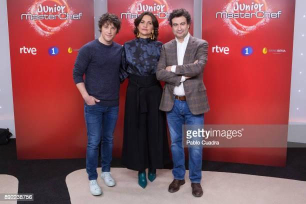 Jordi Cruz Pepe Rodriguez Rey and Samantha VallejoNagera attend the presentation of a new seson of 'Masterchef Junior' at TVE studios on December 14...