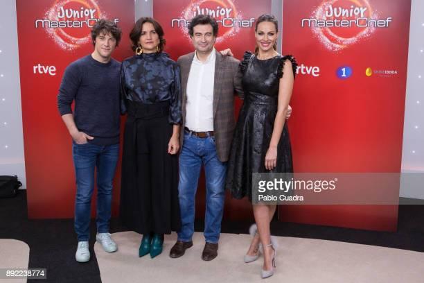 Jordi Cruz Pepe Rodriguez Rey Samantha VallejoNagera and Eva Gonzalez attend the presentation of a new seson of 'Masterchef Junior' at TVE studios on...