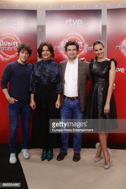 Jordi Cruz Pepe Rodriguez Rey Samantha VallejoNagera and Eva Gonzalez attend the presentation of a new seson of 'Masterchef Junior' at TVE studios on...
