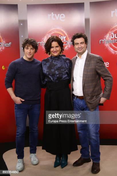 Jordi Cruz Samantha VallejoNagera and Pepe Rodriguez Rey attend the presentation of a new seson of 'Masterchef Junior' at TVE studios on December 14...