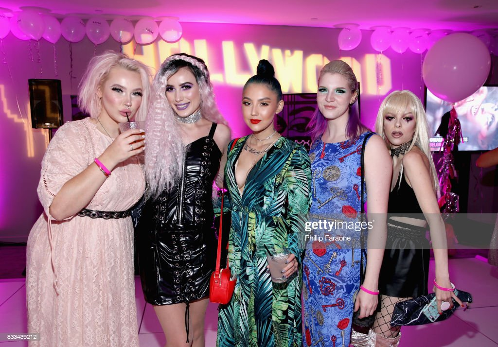 Jordi Dreher, Victoria Lyn, ashghotcakess, Megan Walter and Kimberley Margarita at the FACE Awards International Welcome Party at Andaz Hotel on August 16, 2017 in Los Angeles, California.