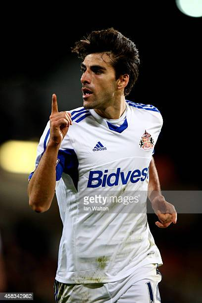 Jordi Gomez of Sunderland cdelebrates after scoring his team's second goal during the Barclays Premier League match between Crystal Palace and...