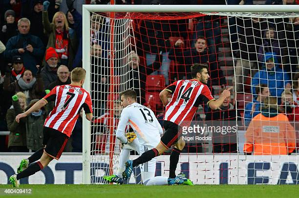 Jordi Gomez of Sunderland celebrates after scoring the opening goal from the penalty spot during the Barclays Premier League match between Sunderland...