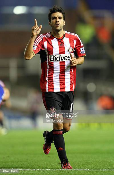 Jordi Gomez of Sunderland Celebrates scoring the opening goal during the Capital One Cup Second Round match between Birmingham City and Sunderland...