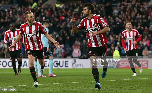 Jordi Gomez of Sunderland celebrates scoring the opening goal during the Barclays Premier League match between Sunderland and West Ham United at...