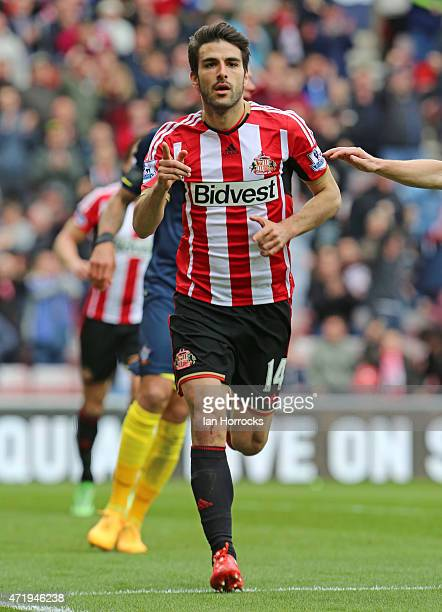 Jordi Gomez of Sunderland celebrates scoring the second Sunderland goal during the Barclays Premier League match between Sunderland AFC and...