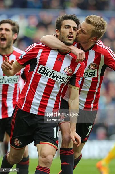 Jordi Gomez of Sunderland celebrates scoring the second Sunderland goal with Seb Larsson during the Barclays Premier League match between Sunderland...