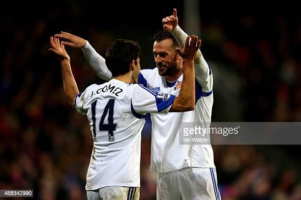 Jordi Gomez of Sunderland celebrates with teammate Steven Fletcher of Sunderland after scoring his team's second goal during the Barclays Premier...