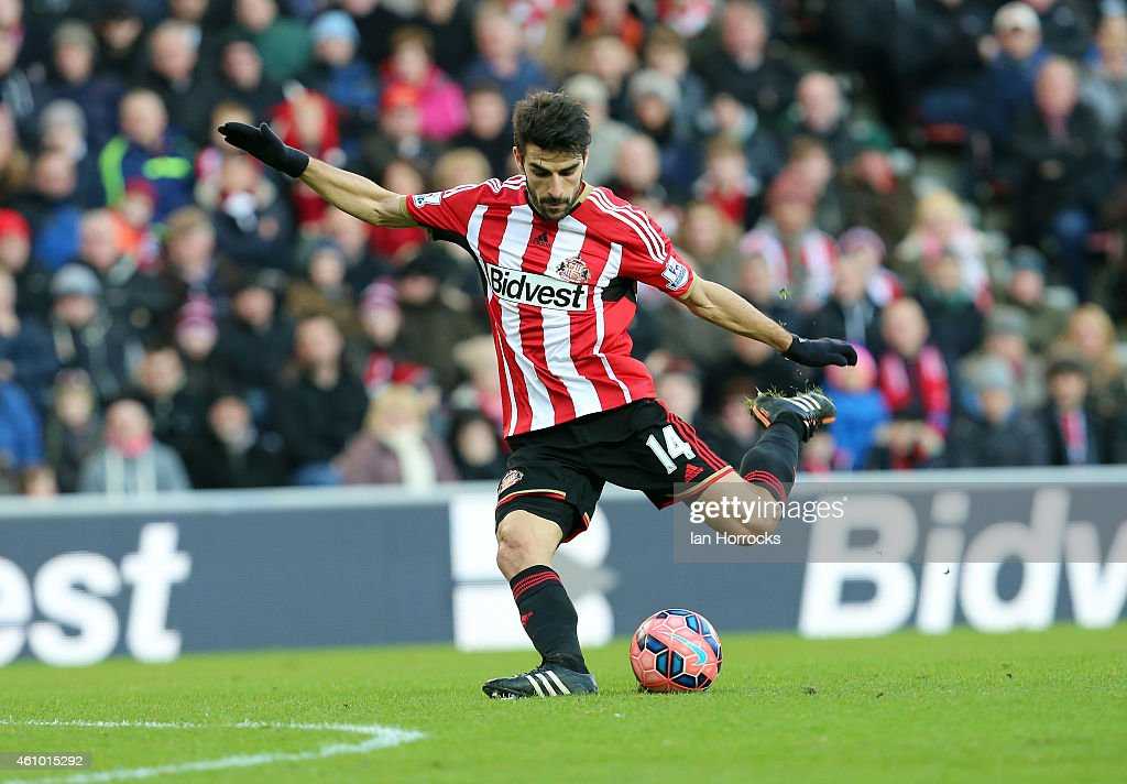 Jordi Gomez of Sunderland during the FA Cup third round match between Sunderland and Leeds United at the Stadium of Light on January 04, 2015 in Sunderland, England.
