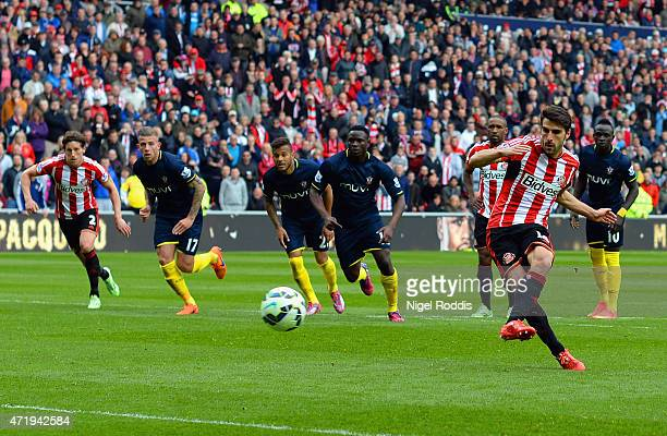 Jordi Gomez of Sunderland scores his team's second goal from the penalty spot during the Barclays Premier League match between Sunderland and...