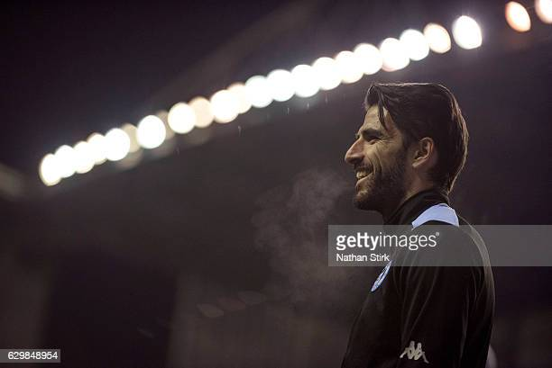 Jordi Gomez of Wigan Athletic looks on before the Sky Bet Championship match between Wigan Athletic and Newcastle United at DW Stadium on December 14...