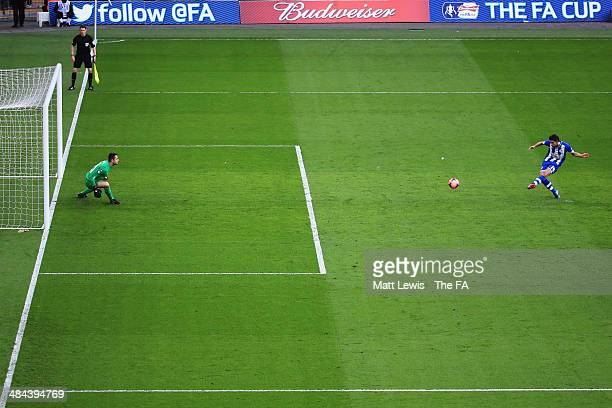 Jordi Gomez of Wigan Athletic scores a goal from the penalty spot during the FA Cup Semi-Final match between Wigan Athletic and Arsenal at Wembley...