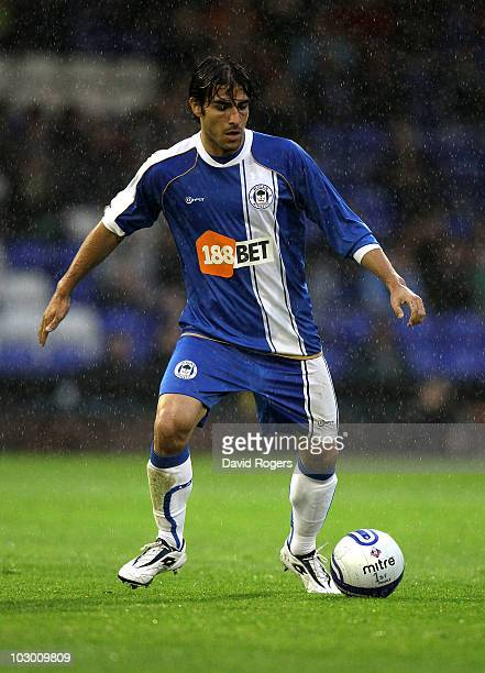 Jordi Gomez of Wigan looks on during the pre season friendly match between Oldham Athletic and Wigan Athletic at Boundary Park on July 20 2010 in...