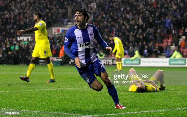 Jordi Gomez of Wigan reacts after scoring his third goal during the Barclays Premier League match between Wigan Athletic and Reading at the DW...