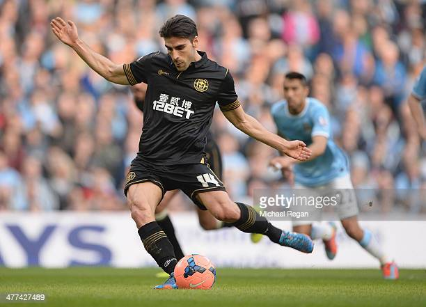 Jordi Gomez of Wigan scores a penalty to make it 10 during the FA Cup QuarterFinal match between Manchester City and Wigan Athletic at the Etihad...