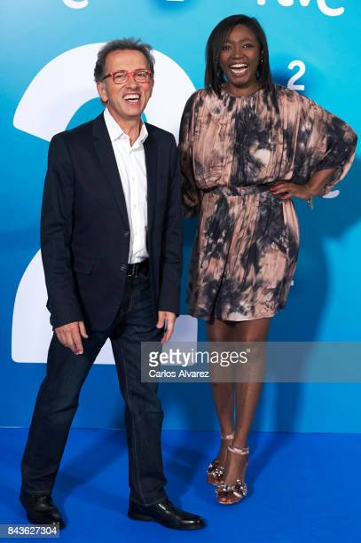 Jordi Hurtado and Francine Galvez attend the presentation of new season of La 2 by RTVE at the at the Palacio de Congresos during the FesTVal 2017 on...