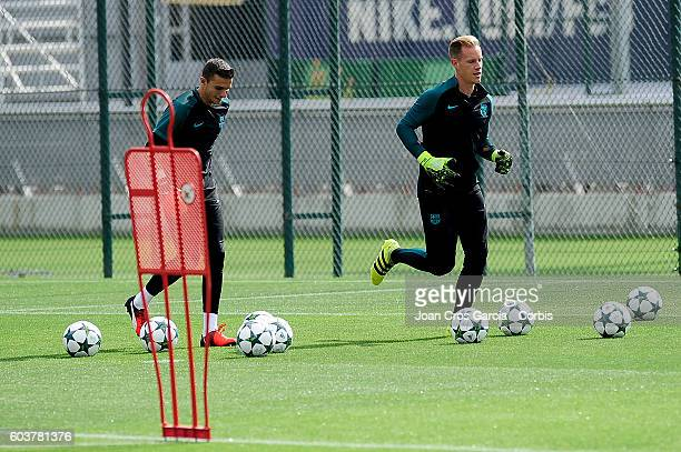 Jordi Masip and Marc André ter Stegen of FC Barcelona in action during the training session at the Sports Center FC Barcelona Joan Gamper before the...