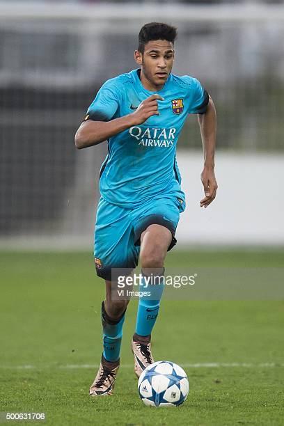 Jordi Mboula of FC Barcelona U19 during the UEFA Youth League match between Bayer 04 Leverkusen U19 and Barcelona U19 on December 9 2015 at...