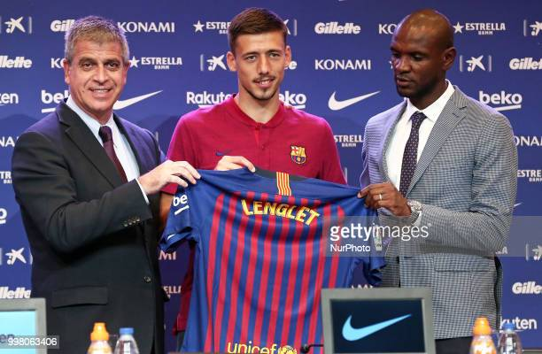 Jordi Mestre vicepresident of FC Barcelona and Eric Abidal technical director during the presentation of Clement Lenglet as a new player of FC...