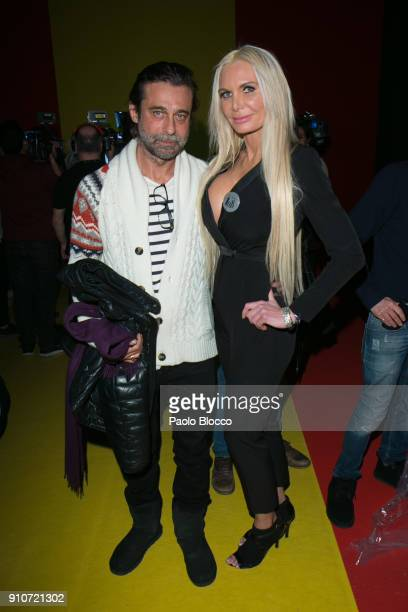 Jordi Molla and Yola Berrocal attend the front row of Agatha Ruiz de la Prada show during Mercedes Benz Fashion Week Madrid Autumn / Winter 2018 at...