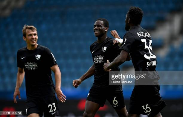 Jordi Osei Tutu of Bochum celebrates after he scores his team's 2nd goal during the Second Bundesliga match between VfL Bochum 1848 and 1. FC...