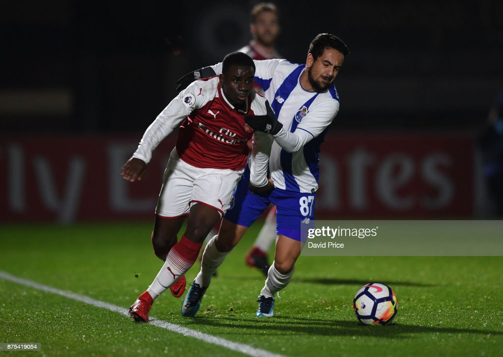 Jordi Osei-Tutu of Arsenal takes on Bruno Costa of Porto during the match between Arsenal U23 and Porto at Meadow Park on November 17, 2017 in Borehamwood, England.