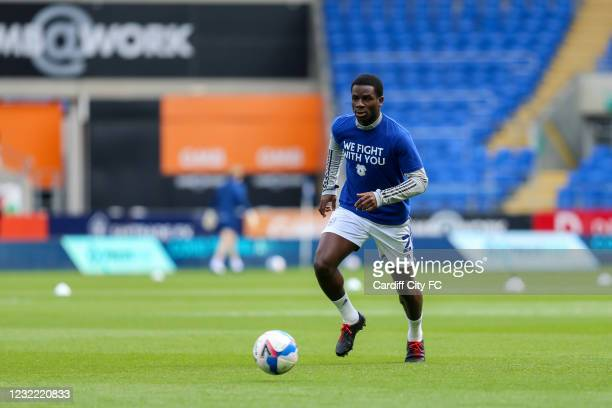 Jordi Osei-Tutu of Cardiff City FC warming up before the Sky Bet Championship match between Cardiff City and Blackburn Rovers at Cardiff City Stadium...