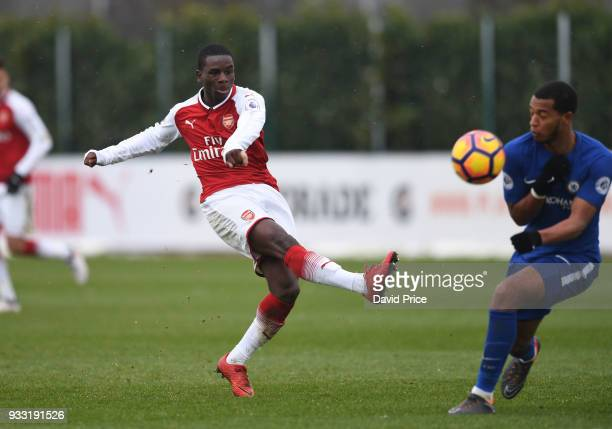 Jordi OseTutu of Arsenal during the match between Arsenal U23 and Chelsea U23 at London Colney on March 17 2018 in St Albans England